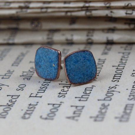Copper enamel 8mm square enamel earstuds mid denim blue enamelled copper earrings #0014