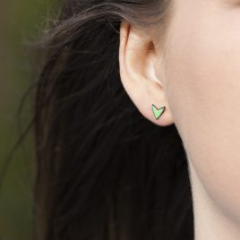 Grass Green vitreous enamel stud earrings