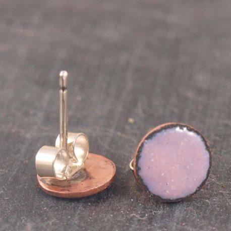 Copper enamel stud earrings, Rose Pink enamel ear studs, 8mm round copper stud earrings, bridesmaid gift, wedding jewellery