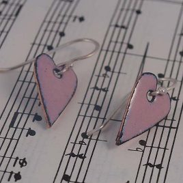 Rose Pink Enamel Heart Earrings