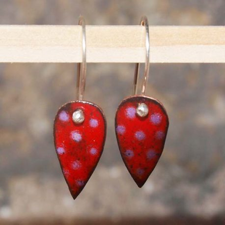 Copper enamel spot drop earrings in red and pink, colourful leaf shape earrings in copper enamel