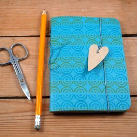 A6 Handstitched blue journal, plain notebook,sketchbook, bullet journal, handstamped on 100% recycled paper, waxed linen bookmark with heart tag