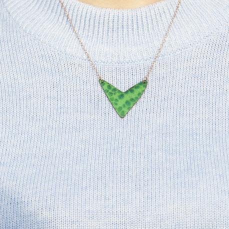 Seedling copper enamel pendant necklace with rose gold