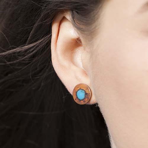 29a114574 Splat enamel and oxidised copper stud earrings - My Cherry Pie
