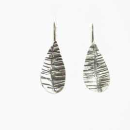 Textured Oxidised Silver Earring 1950's petal drop style