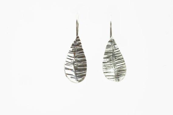 Textured Oxidised Silver Earring 1950's petal drop style