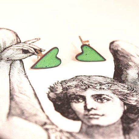Copper enamel heart stud earrings in apple green