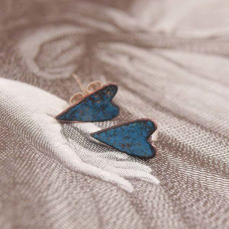 copper enamel etruscan blue heart stud earrings