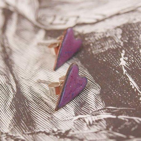 copper enamel heart stud earrings in raspberry pink