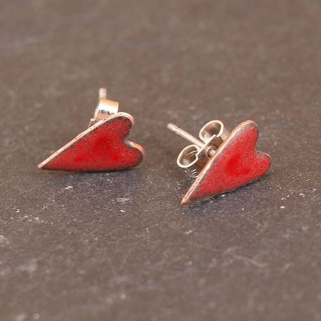 Copper enamel hearts in cherry red