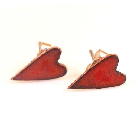 Copper enamel hearts in cherry red