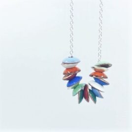 Copper enamel and silver Abacus necklace