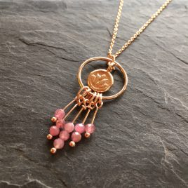 pink tourmaline and rose gold dreamcatcher pendant