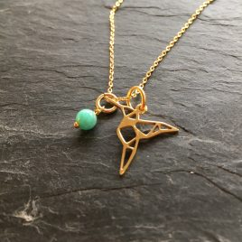 "Hummingbird necklace with amazonite gemstone tag in gold vermeil. Necklace is 17.5"" long and would make a beautiful and thoughtful gift to yourself or someone you want to thank for being in your life."