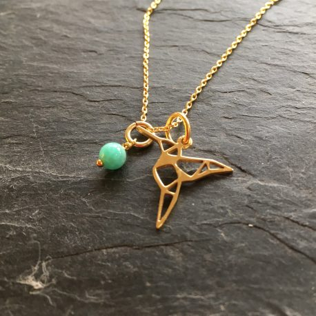 """Hummingbird necklace with amazonite gemstone tag in gold vermeil. Necklace is 17.5"""" long and would make a beautiful and thoughtful gift to yourself or someone you want to thank for being in your life."""
