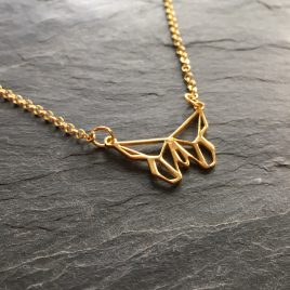Origami Butterfly gold vermeil necklace