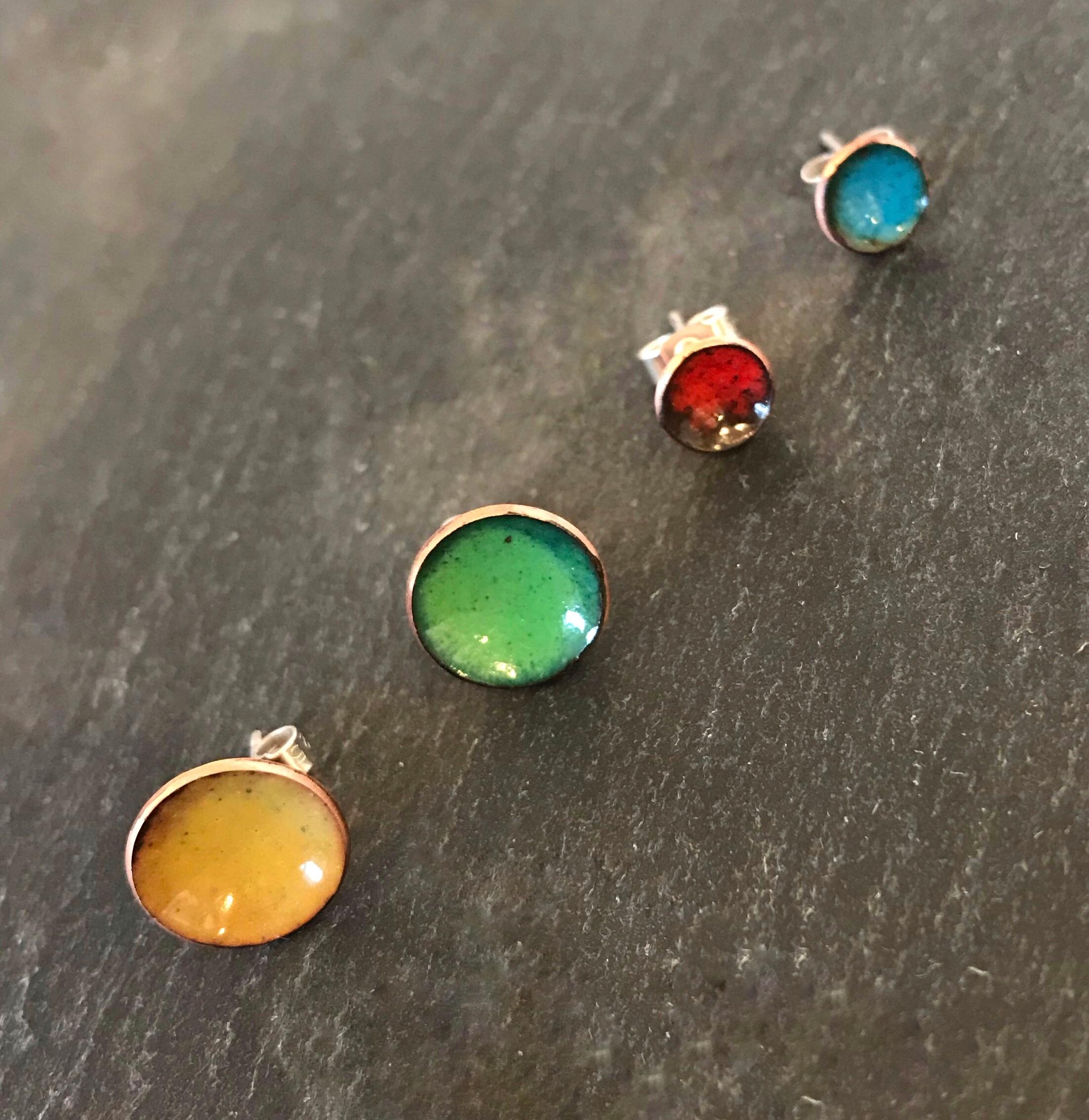 c44078a10 duo random coloured concave copper enamel stud earrings - My Cherry Pie