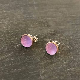 mini dots copper enamel concave stud earrings in heliotrope