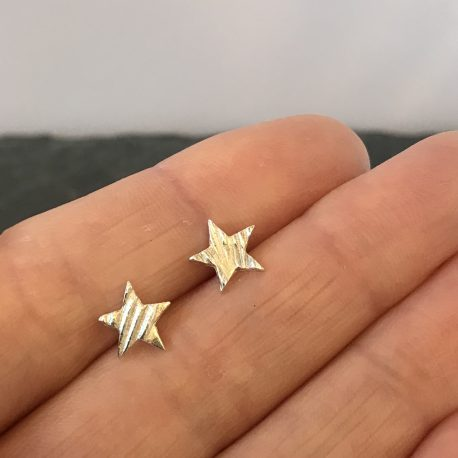 Make a wish with these lovely little handmade silver star stud earrings.