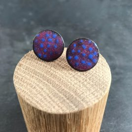 Dotty Raspberry and Ultramarine copper enamel stud earrings