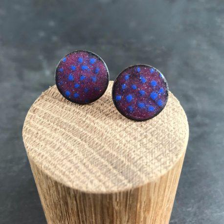 dotty ear studs raspberry and ultramarine