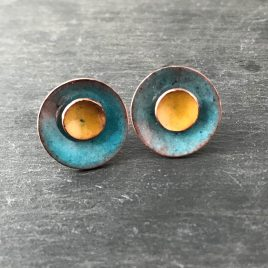 Deep Turquoise and Sunflower Yellow Copper Enamel Stud Earrings.