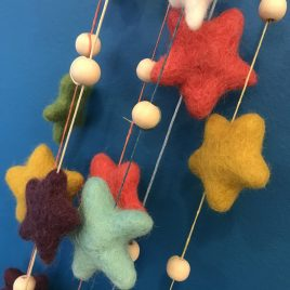 Star Felt and Wood Garland