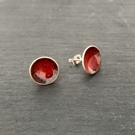 Burnt Orange Concave Enamel Copper Stud Earrings