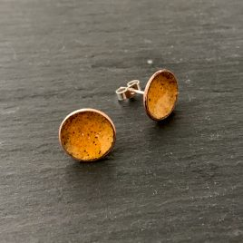 Sunflower Yellow Concave Enamel Copper Stud Earrings
