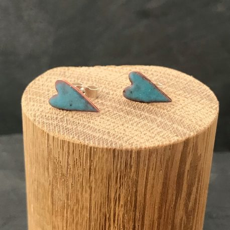 Deep turquoise enamel primitve heart stud earrings
