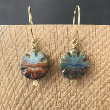 czech glass and brass earrings