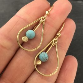 Czech glass and brass drop earrings