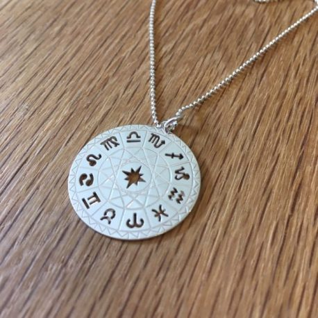 "Sterling silver intricately cut horoscope birth chart pendant.This is a beautiful large silver pendant (1"" or 2.5cm) which has detail cut and etched into it."