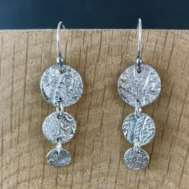 Sterling silver three part drop earrings, dangly earrings, long earrings, trio earrings, circle earrings, boho earrings, silver earrings