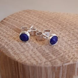 Lapis lazuli gemstone ear studs, December birthstone earrings, healing gemstone earrings, 4mm gemstone studs deep blue lapis lazuli faceted.