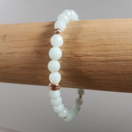 Amazonite and Rose Gold Stretch Bracelet