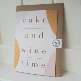 cake & wine time greeting card