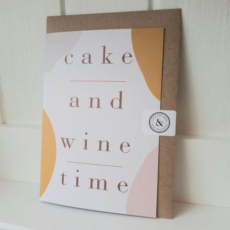 cake & wine time greeting card