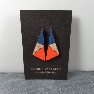 ishbel watson triangle earrings in red and navy
