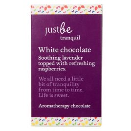 Just Be Tranquil. White Chocolate. Soothing lavender topped with refreshing raspberries. We all need a little bit of tranquillity from time to time. Life is sweet. Aromatherapy chocolate 50g Ingredients: White chocolate, 28% min. cocoa (sugar, cocoa butter, whole milk powder, cocoa mass, emulsifier (soya lecithin), natural vanilla flavouring),dried raspberry pieces, lavender essential oil. Contains milk and soya. May contain nuts. Store in a cool dry place.