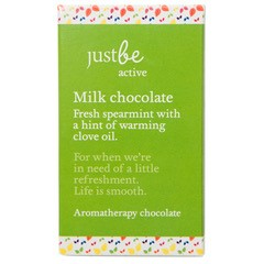 Just Be Aromatherapy milk chocolate 50g Fresh spearmint with a hint of warming clove oil. For when we're in need of a little refreshment.