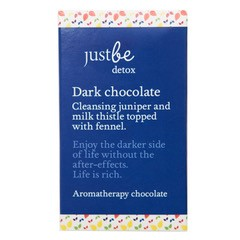Just Be Detox. Dark Chocolate. Cleansing juniper and milk thistle topped with fennel.  Enjoy the darker side of life without the after-effects. Life is rich