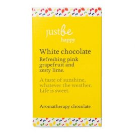 Just Be Happy white chocolate 50g Refreshing pink grapefruit and zesty lime. A taste of sunshine whatever the weather. Life is sweet. Ingredients: White chocolate 28% min. cocoa (sugar, cocoa butter, whole milk powder, cocoa mass, emulsifier (soya lecithin), natural vanilla flavouring), essential oils: pink grapefruit and lime. Contains milk and soya. May contain nuts. Store in a cool dry place. Handmade in Scotland.