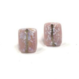 Snowy Blossom Glass and Enamel Handmade Stud Earrings