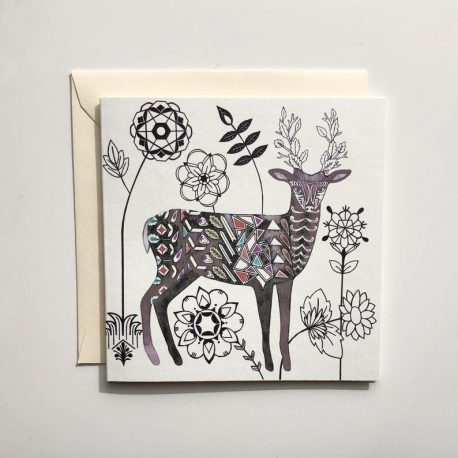 My mini cards are handmade from heavyweight 350gsm recycled card, which is produced using 100% post-industrial fibres. The collection features imagery from my hand-drawn, geometric wildlife and nature illustrations. 'Deer and Flowers' card is mini sized (110 x 110mm) and comes with an ivory, 120gsm envelope, which is made from Eucalyptus fibres from sustainable forests. I use paper glassine bags and clear, compostable corn starch bags to package my cards.
