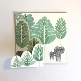 Greeting card with two elephants in a forest