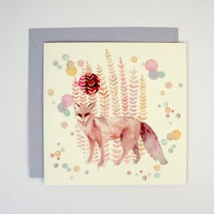 Greeting card with a watercolour illustration of a fox surrounded by pastel coloured foliage and bubbles