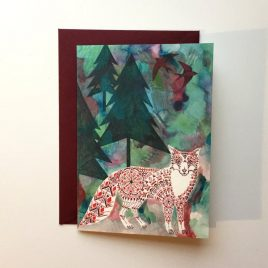 Greeting card showing a geometric fox in a forest of firs