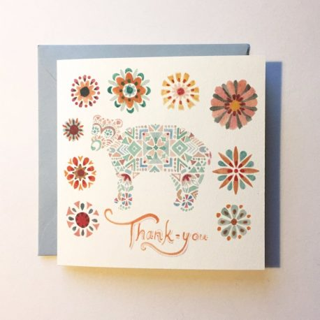 Card with a small geometric bear and the words 'thank you'