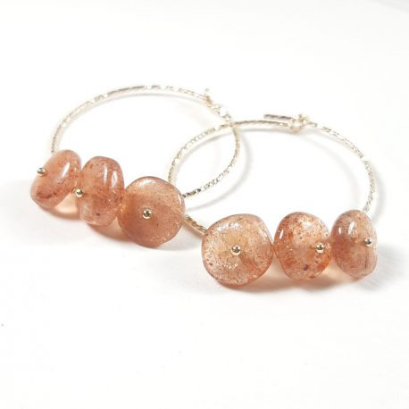 sunstone and gold filled sparkle hoop earrings